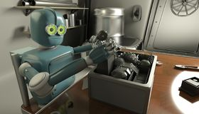 Retro Robot Repairs a broken mechanism, Android restores the detail. 3d Render royalty free illustration