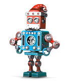 Retro robot with santa's hat and beard. . Contains clipping path Stock Photography