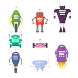 Retro robot set in flat style, vintage cute robots. Toy   Royalty Free Stock Images