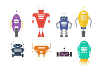 Retro robot set in flat style, vintage cute robots. Toy. Retro robot set in flat style, vintage cute robots. Toy robots Royalty Free Stock Photo