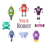 Retro robot set in flat style, vintage cute robots. Toy. Retro robot set in flat style, vintage cute robots. Toy robots Stock Image