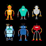 Retro robot set. In flat style, vintage cute robots. Toy robots vector Stock Photos