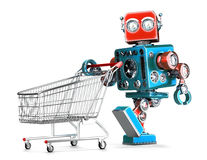 Retro robot with shopping cart. . Contains clipping path Royalty Free Stock Images