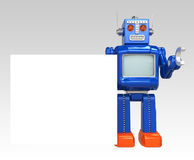 Retro robot show a blank message board.  Stock Photo