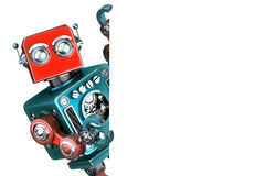 Retro Robot showing blank banner. Isolated. Contains clipping path. Retro Robot showing blank banner. Isolated on white. Contains clipping path Stock Photo