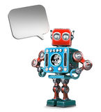 Retro Robot with speech bubble. . Contains clipping path Stock Image
