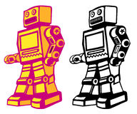 Retro robot. Retro style vector robot with color and black and white Royalty Free Stock Images