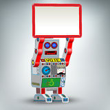 Retro robot toy illustration with table. Funny retro robot  illustration Stock Photography