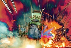 Retro robot toy walking through an explosion stock illustration