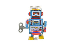 Retro robot toys isolated. On white background with clipping path Stock Images