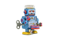 Retro robot toys isolated. On white background with clipping path Royalty Free Stock Photos