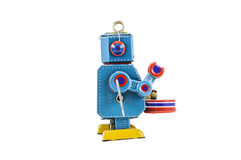 Retro robot toys isolated. On white background with clipping path Stock Image