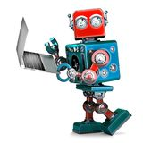 Retro Robot using laptop. 3D illustration. . Contains cl. Ipping path Stock Photo