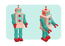 Retro robot vector illustration. Retro robot old toy collection in vintage style Royalty Free Stock Photo