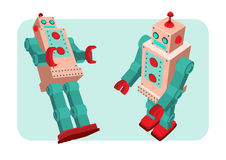 Retro robot vector illustration. Retro robot old toy collection in vintage style Stock Photos