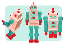 Retro robot vector illustration. Retro robot old toy collection in vintage style Stock Image