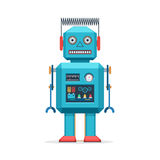 Retro robot vintage toys. Vector illustration in flat style design isolated on and white background Stock Photos