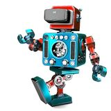 Retro Robot wearing VR headset. 3D illustration. Isolated. Conta. Ins clipping path Stock Photo