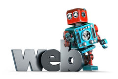 Retro Robot with WEB sign. . Contains clipping path. Retro Robot with WEB sign. Technology concept.  over white. Contains clipping path Royalty Free Stock Images