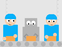 Retro robot working with humans in a factory line Royalty Free Stock Images