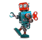 Retro Robot wound up with a key. Isolated. Contains clipping path Stock Photos