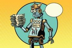Retro robot z plikiem pieniądze Obraz Stock