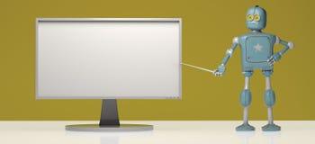 Retro robot z pointeru kijem na pomarańczowym tle 3D illustra ilustracja wektor
