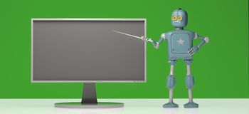 Retro robot z pointeru kijem na zielonym tle 3d illustrat royalty ilustracja