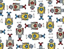 retro robotar för attack Arkivbild