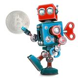 Retro- Roboter, der bitcoin Münze hält Abbildung 3D Getrennt Stockfotografie