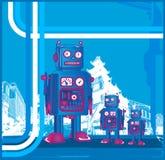 Retro- Roboter u. Sohn Lizenzfreie Stockfotografie