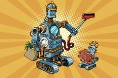 Retro- Roboter Vati und Baby der Familie Lizenzfreie Abbildung