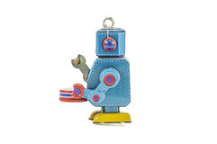Retro- Roboterspielwaren lokalisiert Stockbilder