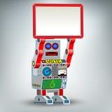 Retro- Roboterspielzeugabbildung mit Tabelle stock abbildung