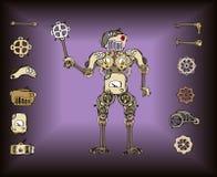 Retro- Roboterteile lizenzfreie abbildung