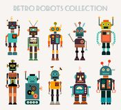 Retro robots collection with different characters, vector design. A collection of ten vintage robots, different characters, retro colors, isolated on white Royalty Free Stock Images