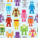 Retro robots seamless vector pattern Stock Images