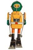 Retro robotskidåkare som isoleras på vit Royaltyfri Bild