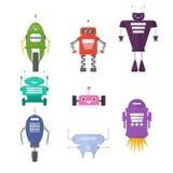 Retro robotuppsättning i plan stil, gulliga robotar för tappning toy royaltyfri illustrationer