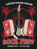 Retro rock music band vector poster with guitar. Rock music festival grunge illustration banner in red black Stock Photo