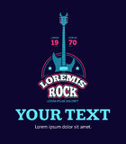 Retro rock music club, shop, sound record studio vector logo, badge, emblem with guitar royalty free illustration