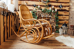 Retro rocker wooden swing chair on wood floor Stock Image