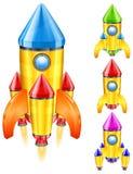 Retro rocket. Color retro rocket ship, stylize vector illustration Royalty Free Stock Image