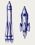 Retro rocket. Doodle style. Vector vector illustration
