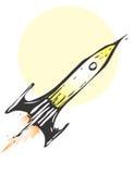 Retro Rocket. Ship blasting off into space stock illustration