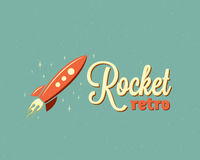 Retro Rocket Abstract Vector Sign Emblem or Logo Template. Cartoon Spaceship in the Sky with Stars. Vintage Typography Royalty Free Stock Photography