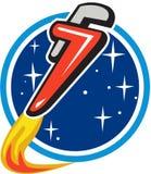 Retro Rocket Blasting Off Orbit Space för rörskiftnyckel cirkel Royaltyfri Foto
