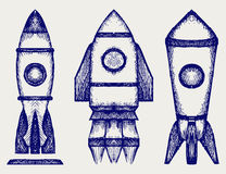 Retro rocket. Doodle style. Vector illustration Royalty Free Stock Images