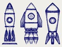 Retro rocket. Doodle style. Vector illustration stock illustration