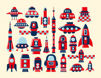 Retro rocket icons set element Stock Image
